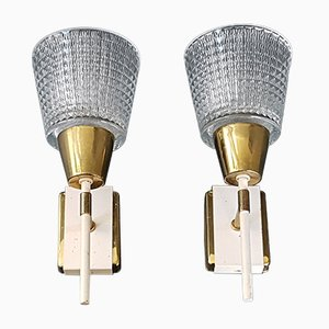 Mid-Century French Brass, Steel & Glass Wall Lights, 1950s, Set of 2