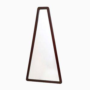 Dreieckiger italienischer Mid-Century Spiegel mit Rahmen aus Nussholz, 1960er