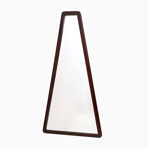 Mid-Century Italian Triangular Walnut Mirror, 1960s