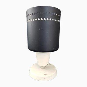 Lámpara de mesa francesa Mid-Century de acero y porcelana, años 50