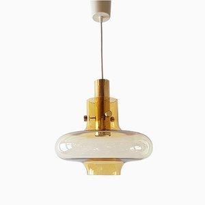 Mid-Century Glass & Brass UFO Pendant Light, 1960s