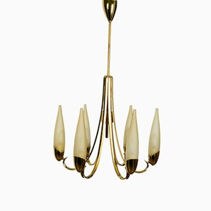 Mid-Century Modern Brass Chandelier with Long Glass Shades