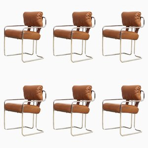 Mid-Century Brown Leather & Chrome Armchairs by Mariani for Pace Collection, 1970s, Set of 6
