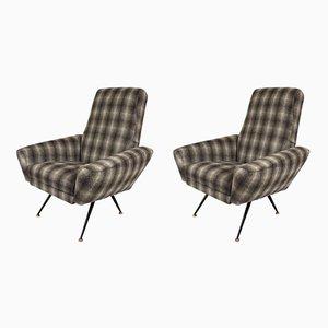 Italian Woolen Armchairs, 1950s, Set of 2