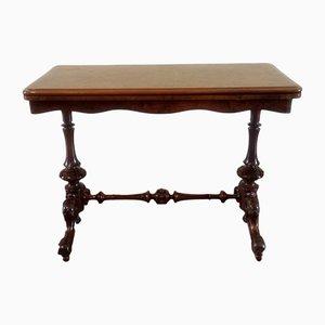 Tavolo rettangolare antico in stile vittoriano in radica di noce