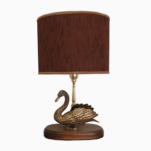 Mid-Century French Table Lamp with Brass Swan, 1960s
