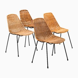 Vintage Basket Chairs by Gian Franco Legler for Vittorio Bonacina, 1950s, Set of 4