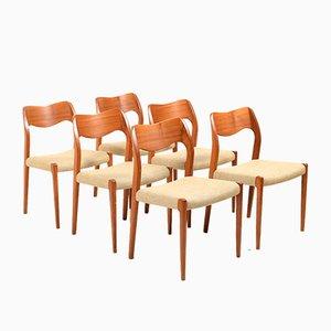 Vintage No. 71 Dining Chairs by Niels O. Møller for J.L. Møllers, Set of 6