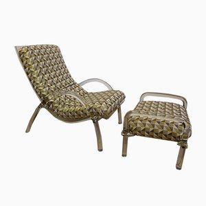 Juego de sillón y otomana vintage de plexiglás