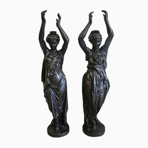 Antique French Cast Iron Statues by Antoine Durenne, Set of 2
