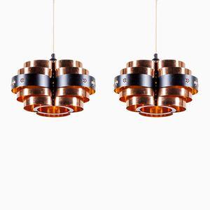 Lámparas colgantes vintage de metal negro y cobre de Werner Schou para Coronell Elektro. Juego de 2