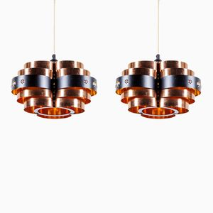 Vintage Black Metal & Copper Pendant Lights by Werner Schou for Coronell Elektro, Set of 2