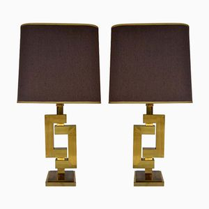 Vintage Sculptural Geometric Brass Table Lamps by Willy Rizzo for Romeo Rega, Set of 2