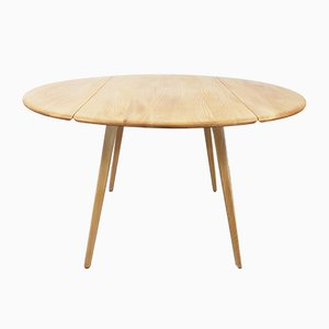 Mid-Century Drop Leaf Round Dining Table by Lucian Ercolani for Ercol
