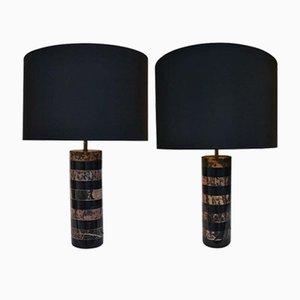 Zylinderförmige Vintage Tischlampen mit schwarzen Schirmen & Marmorfüßen in Rosa & Schwarz, 1970er, 2er Set
