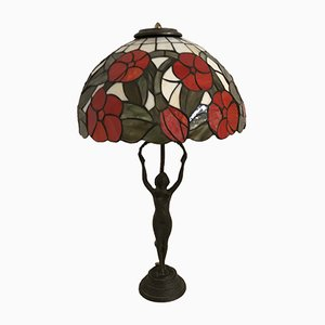 Vintage Bronze & Resin Poppy Table Lamp