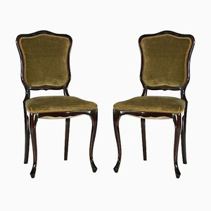 French Art Nouveau Mahogany & Velvet Side Chairs, 1910s, Set of 2