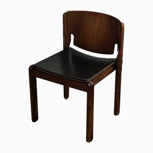 Model 122 Walnut & Leather Dining Chairs by Vico Magistretti for Cassina, 1960s, Set of 4