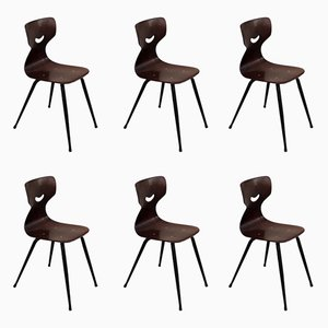 Vintage Bentwood & Iron Dining Chairs by Adam Stegner for Pagholz Flötotto, 1950s, Set of 6