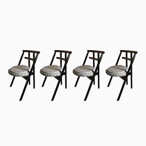 Postmodern Black Lacquered Wood Dining Chairs from Cassina, 1982, Set of 4