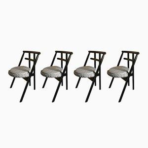 Schwarz lackierte postmoderne Esszimmerstühle aus Holz von Cassina, 1982, 4er Set