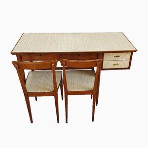 Set di scrivania in teak con sedie, anni '70