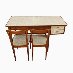 Set of Teak Desk with Chairs, 1970s