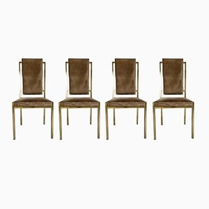 Italian Brass Dining Chairs by Romeo Rega, 1970s, Set of 4