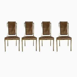 Italian Brass Dining Chairs by Romeo Rega, 1970s, Set of 4