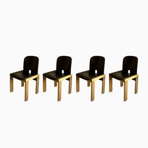 Modell 121 Esszimmerstühle aus Nussholz & Leder von Tobia & Afra Scarpa für Cassina, 1960er, 4er Set