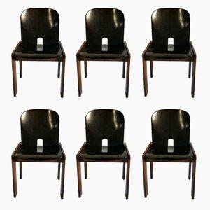 Chaises de Salle à Manger Modèle 121en Noyer Laqué Noir par Tobia & Afra Scarpa pour Cassina, 1960s, Set de 6