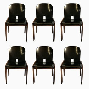 Schwarz lackierte Modell 121 Esszimmerstühle aus Nussholz von Tobia & Afra Scarpa für Cassina, 1960er, 6er Set