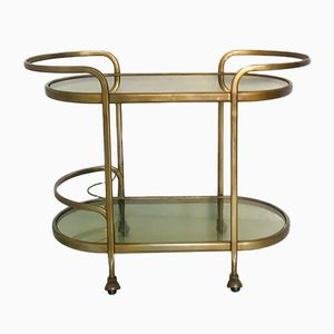 Vintage Brass & Smoked Glass Trolley, 1950s
