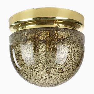 Lampada da soffitto in vetro ambrato a bolle e ottone di Doria Leuchten, anni '60