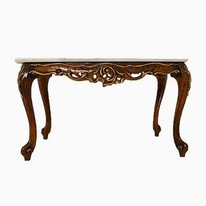 Tavolino da caffè vintage in legno e marmo, anni '50