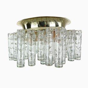 Einbau-Kronleuchter mit Messingrahmen & röhrenförmigen Glasanhängern von Doria Leuchten, 1960er