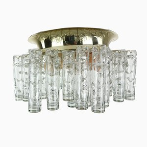 Glass & Brass Flush Mount Tube Chandelier from Doria Leuchten, 1960s