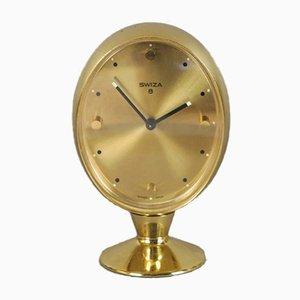 Reloj despertador de latón de Swiza 8, años 50