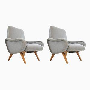 Graue Vintage Sessel, 1970er, 2er Set