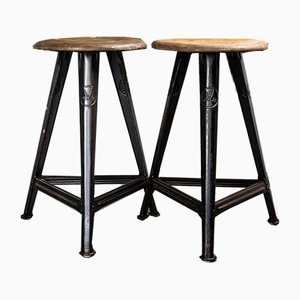 Vintage Industrial Stools from Rowac, Set of 2