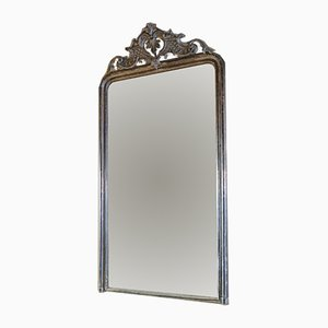 Antiker französischer Louis XV Spiegel mit versilbertem Rahmen