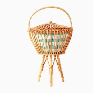 Costurero vintage de ratán y bambú, años 50