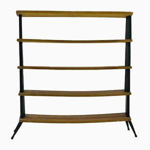 Vintage Brass & Wood Shelves, 1950s
