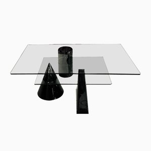 Tavolino da caffè in vetro e marmo, anni '80