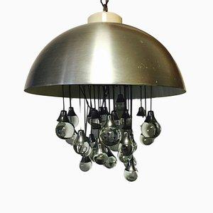 Lampada a sospensione vintage in acciaio, anni '70
