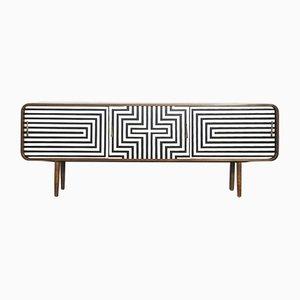 Gerundetes skandinavisches Mid-Century Sideboard mit Muster, 1960er