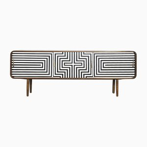 Mid-Century Scandinavian Rounded Sideboard with Pattern, 1960s