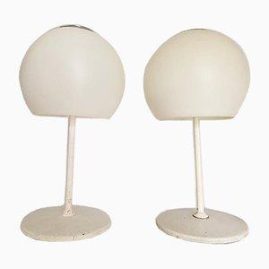 Lampada bianca a fungo di Miguel Mila per Tramo, anni '70, set di 2
