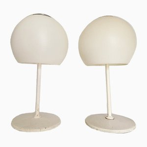White Mushroom Lamps by Miguel Mila for Tramo, 1970s, Set of 2