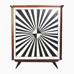 Mid-Century Rockabilly Schrank mit Op-Art Muster, 1950er